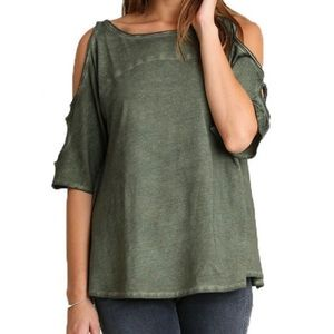Umgee Cold Shoulder Army Green Worn Blouse Top